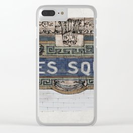 Times Square Subway New York, Tile Mosaic Sign Clear iPhone Case