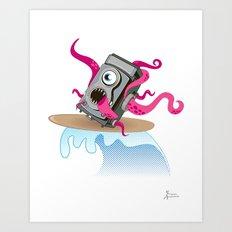 Monster Camera Surfing Art Print