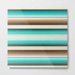 Teal, Brown and Navajo White Southwest Serape Blanket Stripes Metal Print