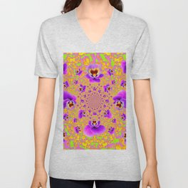 PURPLE-LIME MODERN ART PURPLE-GOLDEN PANSIES Unisex V-Neck