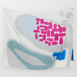 """launched"" abstract painting in fresh colors gray, white pink and mint by Wall Tapestry"