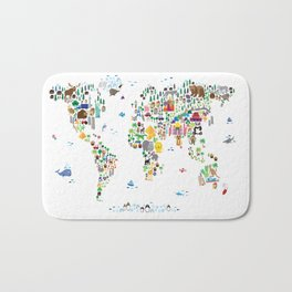 Animal Map of the World for children and kids Bath Mat