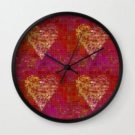 Red Love Heart Tile Art Wall Clock