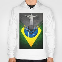 brazil Hoodies featuring Flags - Brazil by Ale Ibanez