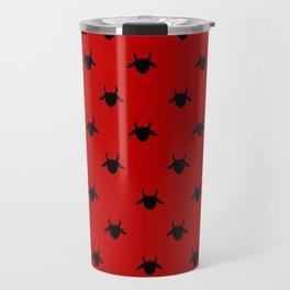 goat pattern red and black Travel Mug