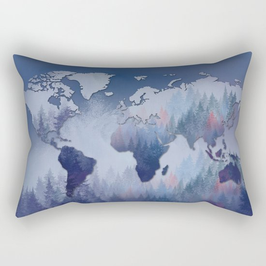 world map forest 5 Rectangular Pillow