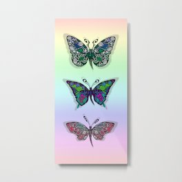 Rainbow Butterflys Metal Print