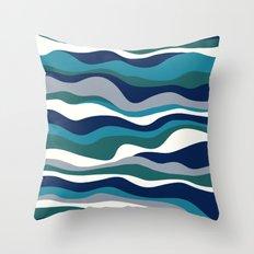 Cordillera Stripe: Teal Navy Combo Throw Pillow