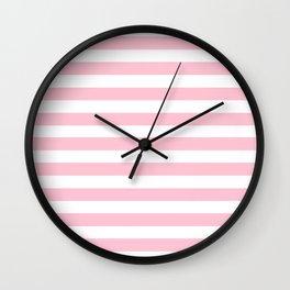 pastel rose stripes Wall Clock