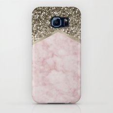 Shimmering golden chevron pink marble Galaxy S6 Slim Case
