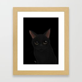 Black cat in black Framed Art Print