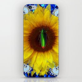 EMERALD GOLD BUG ON SUNFLOWER BUTTERFLY iPhone Skin