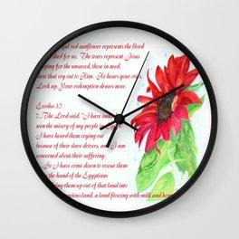 Red Sunflower - Jesus Wept Wall Clock