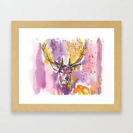 The Stag // Traditional watercolor painting Framed Art Print