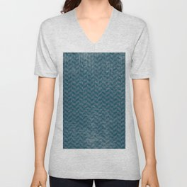 Vintage blue gray abstract geometric chevron pattern Unisex V-Neck