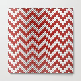 Red Christmas knitted chevron, large scale Metal Print