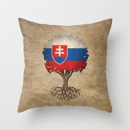 Vintage Tree of Life with Flag of Slovakia Throw Pillow