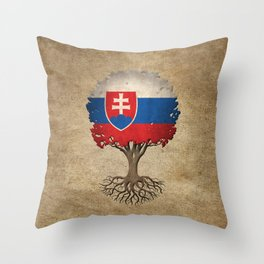 Vintage Tree of Life with Flag of Slovakia Throw Pillow