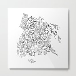 Bronx - Hand Lettered Map Metal Print