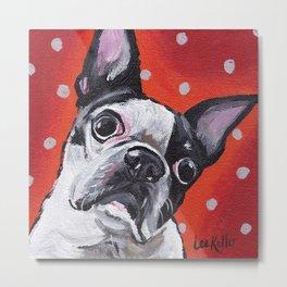 Cute Boston Terrier Art Metal Print