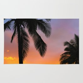Sunset Silhouette Palm Tree (Color) Rug