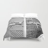 outdoor Duvet Covers featuring outdoor basketball court black and white by Dragonheart