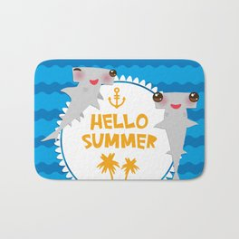 Hello Summer. Kawaii hammerhead shark Bath Mat