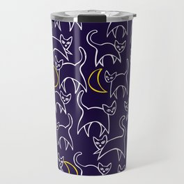 Cat Crescent Moon Travel Mug