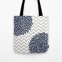 Chevron Floral Modern Navy and Grey Tote Bag