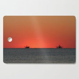 Trawlers at Sunset   Bald Head Island North Carolina Cutting Board