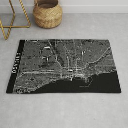 Chicago Black Map Rug