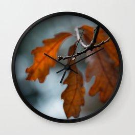 Rust Orange Oak Leaves in the Rain Wall Clock
