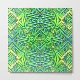 Pointy pattern in green, yellow, and blue Metal Print