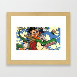 Kids and the Dragon Framed Art Print