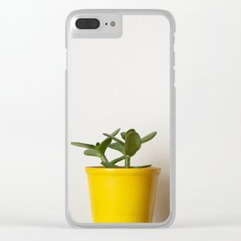 Succulent in a yellow pot Clear iPhone Case