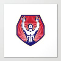 crossfit Canvas Prints featuring Crossfit Training Athlete Rings Retro by retrovectors