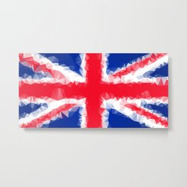 The Flag of the United Kingdom with Low Poly Effect Metal Print