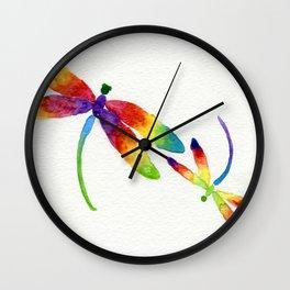 Little Rainbow Dragonflies Wall Clock