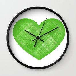 Emoji Heart in Green Plaid Wall Clock