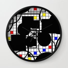 Colour Relationships - Black, white, red, yellow, blue, geometric abstract artwork Wall Clock