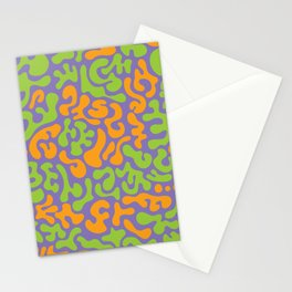 Social Networking Grape, Lime, Orange Stationery Cards