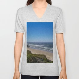 Beach Horizon | Deep Blue Color Sky Ocean Water Waves Coastal Landscape Photograph Unisex V-Neck