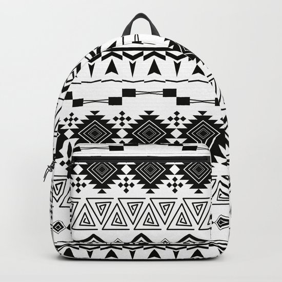 Aztec black white pattern. Backpack