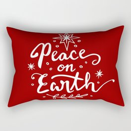 Peace On Earth - White on Red Rectangular Pillow