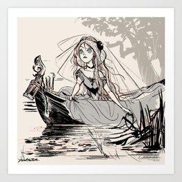 "Inktober 02 Tranquill ""escape like the lady of shalott"" Art Print"