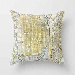 Japanese woodblock map of Kyoto, Japan, 1696 Throw Pillow