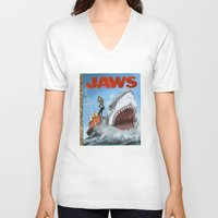 jaws V-neck T-shirts featuring Jaws by Tom McWeeney