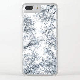 Snow covered top trees, Winter trees crown. Clear iPhone Case