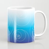fibonacci Mugs featuring Blue Fibonacci Circles by Alexandra Love + Beautiful Chorus