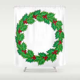 Holly garland Shower Curtain